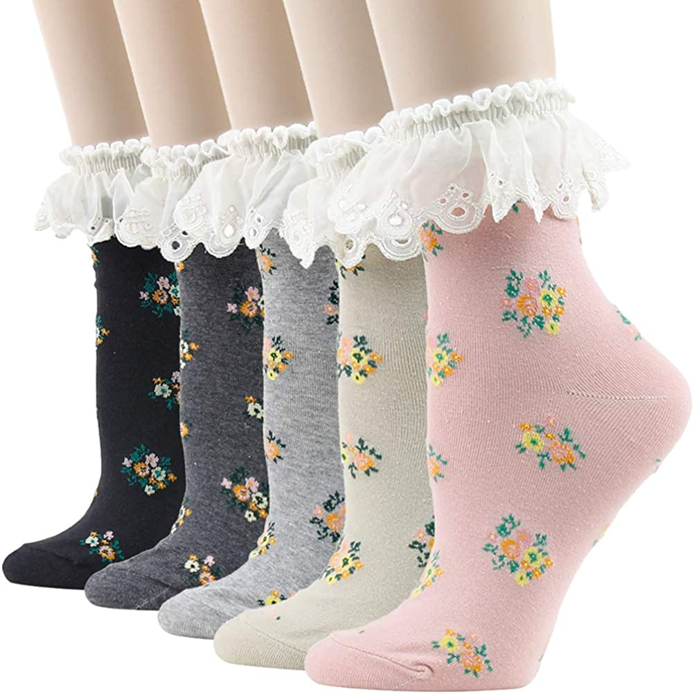 KitNSox Womens Lace Ankle Socks Ruffle Colorful Floral Cotton Casual Dress Novelty Frilly Anklet Socks 4/5 Pairs