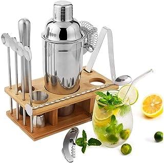 Scra AC Cocktail shaker set, stijlvol bamboe rack - roestvrijstalen cocktailrek, roestbewijs bar gereedschap, perfecte bar...