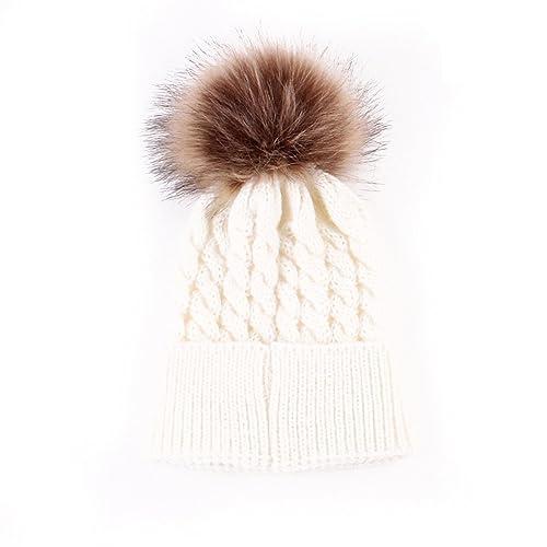 86923aed84c oenbopo Baby Winter Warm Knit Hat Infant Toddler Kid Crochet Hairball Beanie  Cap