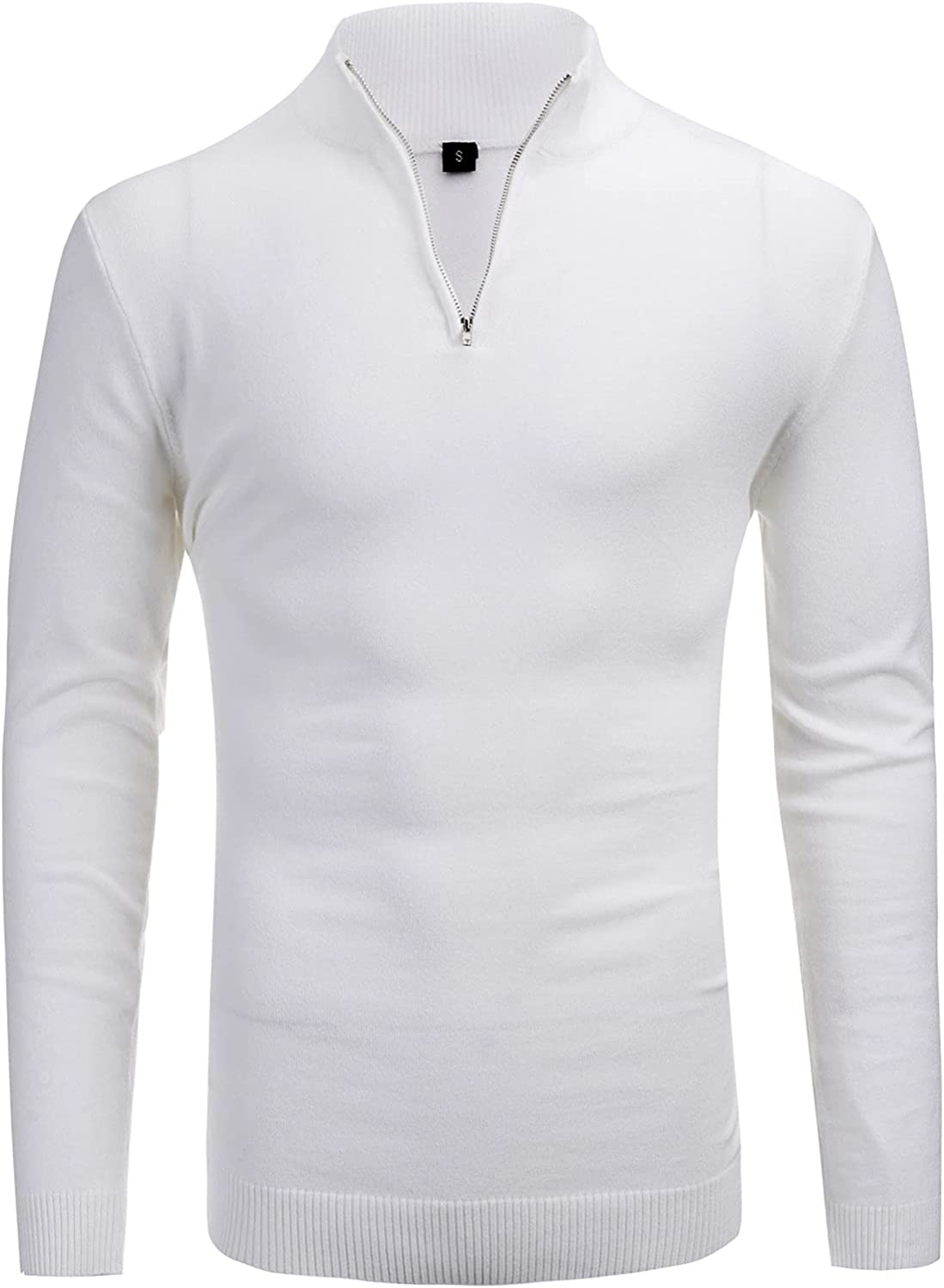 Chokovy Quarter Zipper Plain Sweater Casual Style Sweaters for Men Ribbed Pullover Autumn Winter Essentials