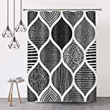 COLORPAPA Boho Shower Curtain Black and White Shower Curtains for Bathroom Bohemia Pattern Fabric Waterproof Bath Curtain Set with Hooks 72x72