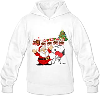 GYKU Men's Merry Christmas Snoopy Long Sleeve Hoodies Sweater Ash,100% Cotton