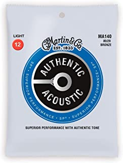 Martin Authentic Acoustic MA140 Light-Gauge Acoustic Guitar Strings, 80/20 Bronze