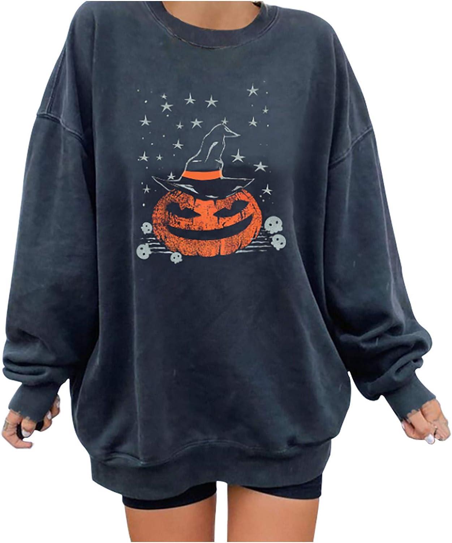 Halloween Sweatshirts for Women, Women Slouchy Shirts Halloween Pumpkin Long Sleeve Sweatshirts Pullover