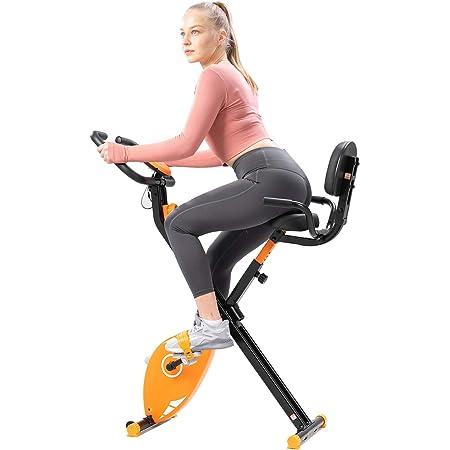 GEARSTONE Bicicleta Estática Plegable con Respaldo, Bicicleta de Fitness con 8 Niveles de Resistencia, Monitor de Pantalla LCD con Sensor de ...