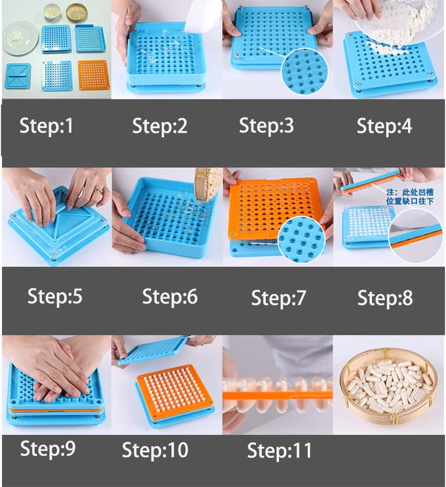 Coffee Filler Tray Coffee Powder Filling Manual Machine Empty Coffee Powder Filler Tool with Powder Spreader Plates 100 Holes Empty Plate for Size 0# Powder Filling Tray Holder blue