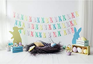 CSFOTO Easter Backdrop for Photography 6x4ft Easter Backdground Easter Painted Eggs Paper Bunny Bird Nest Banner Interior Decor Kids Newborn Portrait Photo Studio Props Polyester