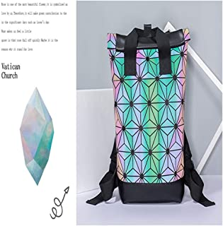 Mens Bag Casual Wild Large Capacity Outdoor Travel Backpack Men And Women With The Same Shoulder Bag Geometric Rhombic Backpack High capacity
