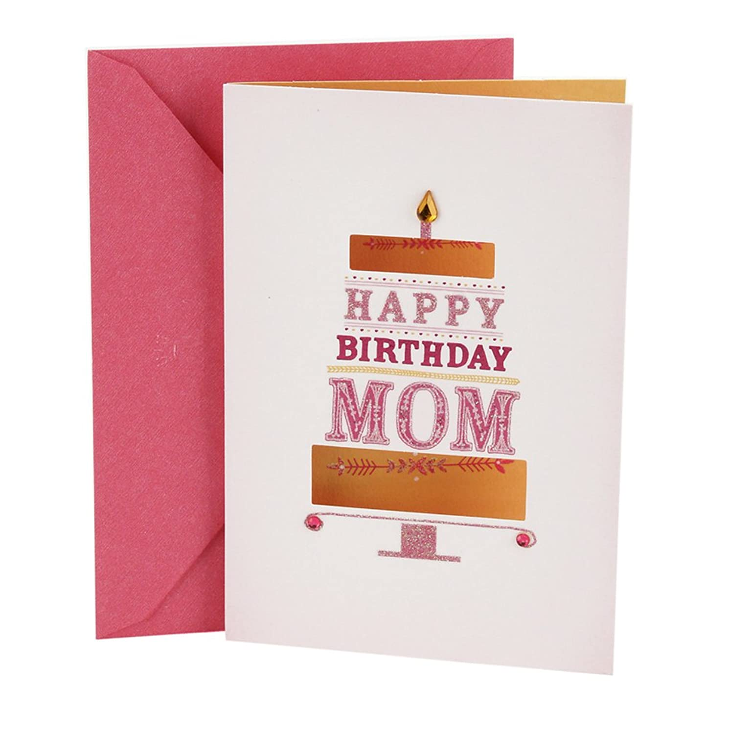 Hallmark Birthday Card for Mom (Pink and Gold Cake)