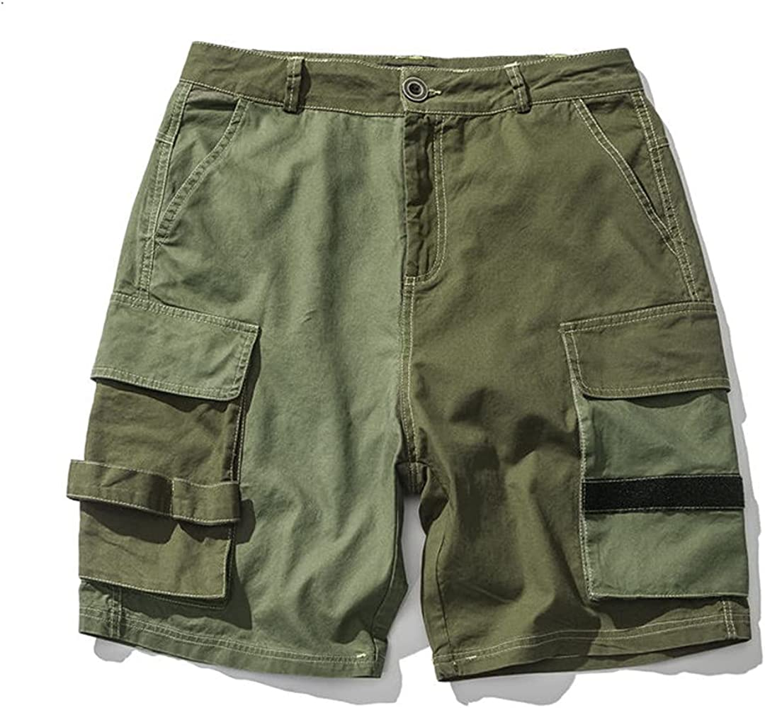 Patchwork Cargo Shorts Green Casual Loose Men's Shorts Double Pockets