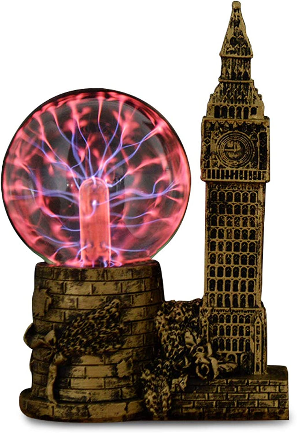 Qisheng Clock Tower 3.5  Plasma Ball Lamp Touch Sensitive,Party Magical Electrostatic Red color Crystal Ball for Halloween (gold)