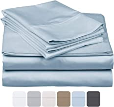 600 Thread Count 100% Long Staple Soft Cotton, 4 Piece Sheets Set, Three Quarter Size,Smooth & Soft Sateen Weave, Luxury Hotel Collection Bedding, Light Blue Solid