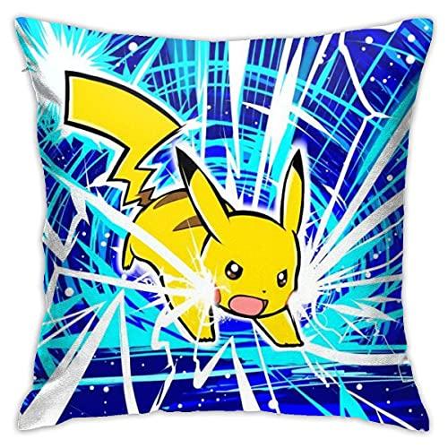 ccj Poke-Mon Pika-CHU Cartoon Delicate Linen Home Decor Pillowcase Throw Pillow Case Decorative Cushion Cover Fundas para Almohada 22x22Inch(55cmx55cm)