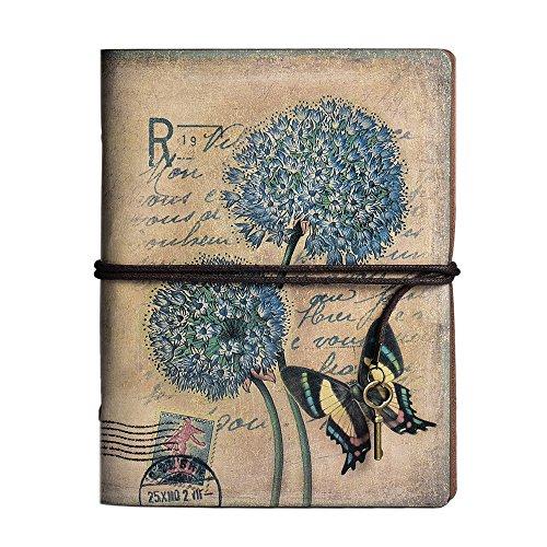 Cuaderno de cuero vintage, cuaderno recargable con 180 páginas kraft en blanco y bolsillos de plástico con cremallera para niños y niñas