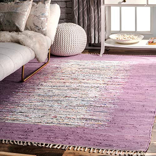 nuLOOM Madison Collection Tasha Cotton Contemporary Hand Made Area Rug, 2-Feet 6-Inch by 8-Feet, Lavender