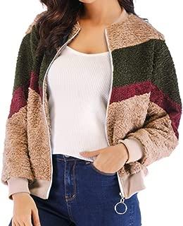 Sanyyanlsy Women's Stripe Plush Short Jacket Autumn Winter Fashion Long Sleeve Zip O-Neck Hatless Coat Tops Sweatshirt