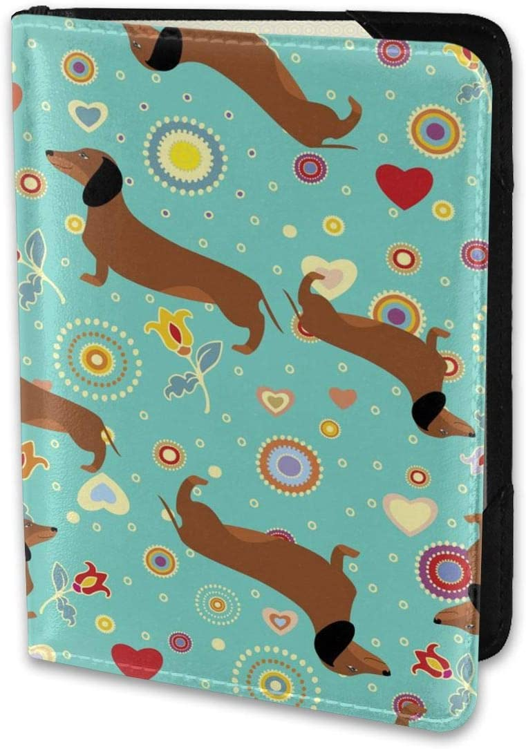 Dachshunds On New sales Turquoise Floral Passport Background Holder Ranking TOP4 Wallet