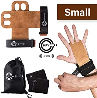 KFY Sports Leather Gymnastics Hand Grips – for Crossfit Workout Training Chin ups Pull-ups WODs Kettlebells – Carrying Bag & Sweatbands with Zipper Pocket - Fitness Lifting Wrist Support (Brown Small)