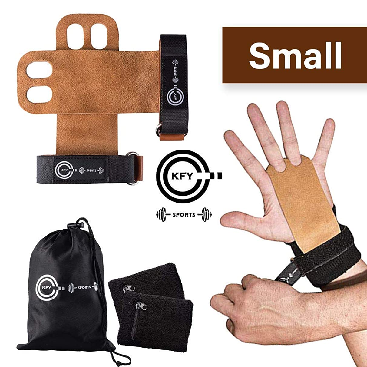 KFY Sports Leather Gymnastics Hand Grips - for Crossfit Workout Training Chin ups Pull-ups WODs Kettlebells - Carrying Bag & Sweatbands with Zipper Pocket - Fitness Lifting Wrist Support (Brown Small)