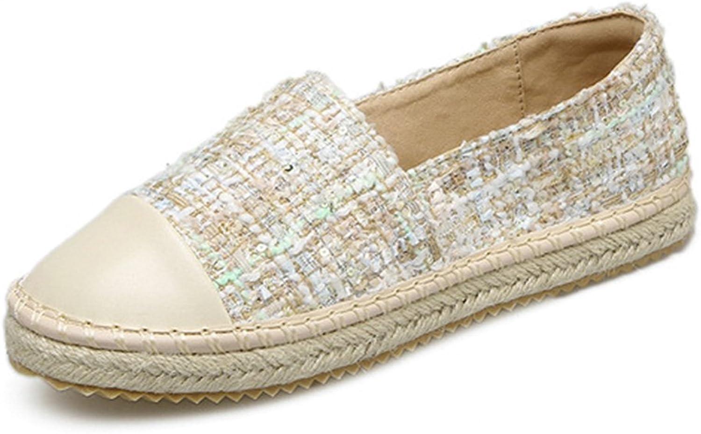 York Zhu Women Round Toe Loafers, Espadrilles Plaid Round Toe Hemp Slip on Flats