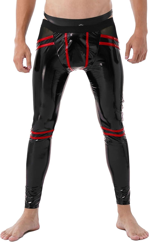 Hularka Men's Wet Look Leather Striped Long Pants Nightclub Trousers Open Back Leggings
