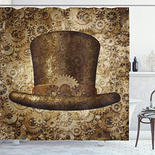 """Ambesonne Victorian Shower Curtain, Steampunk Hat Fantasy Science Fiction Concept Futuristic Gears Cogs Print, Cloth Fabric Bathroom Decor Set with Hooks, 84"""" Long Extra, Sand Brown"""