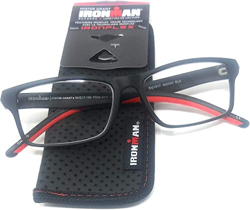 discount Foster wholesale Grant Ironman Men's Reading Glasses Red Black sale +1.50 outlet sale