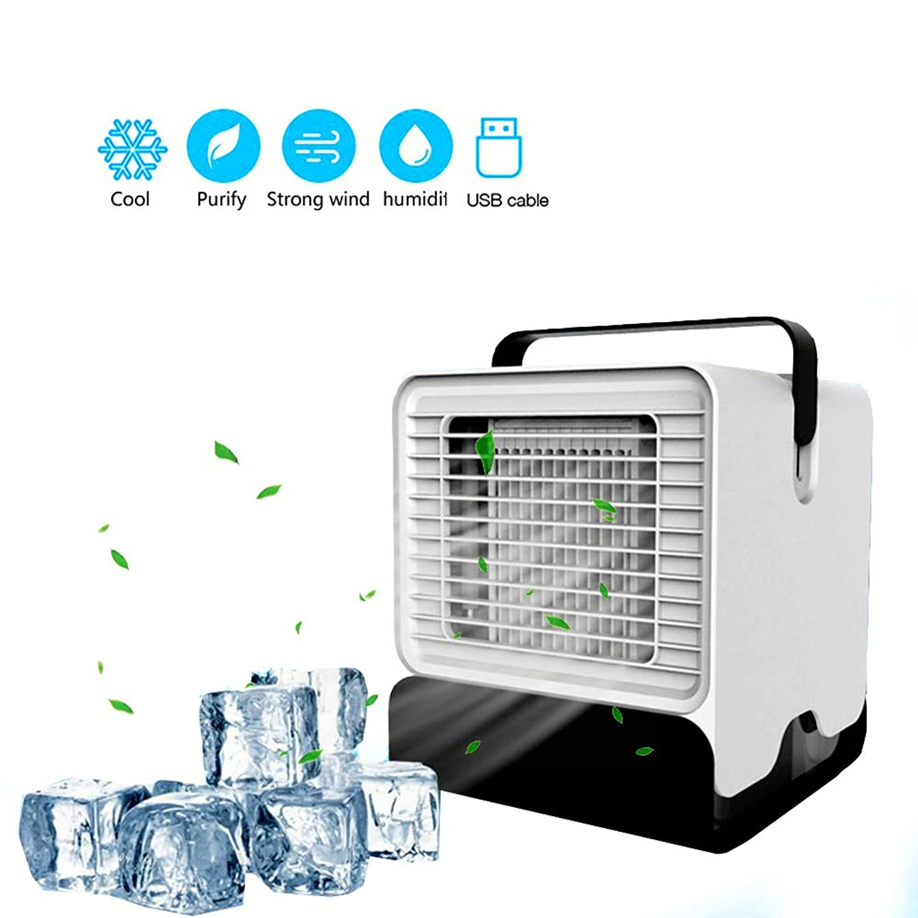 Tenlso Portable Air Conditioner, 3 in 1 Mini USB Personal Space Air Cooler Humidifier Purifier Desktop Cooling Fan with Led Light & Handle, Quiet Air Table Fan for Home Room Office