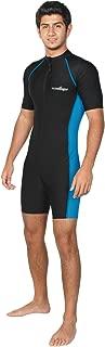 Men Sun Protective Sunsuit Full Body Swimsuit Short Sleeves UPF50+ Black Blue