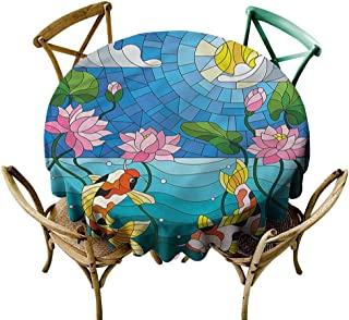 familytaste Koi Fish, Round tablecloths Stained Glass Lotus Flower D 60