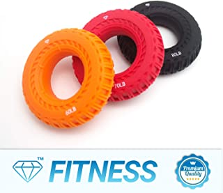 Diamond Power Hand Grip Strengthener - Pack of 3 - Bigger and Stronger - Strengthens Fingers, Wrists and Forearms - Best for Climbing, Golf & Tennis Grip Power and Restore Strength (Orange Red Black)