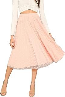 Women's Dot Mesh Overlay Ballet Flare Princess Tulle Midi Long Skirt