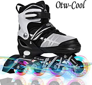 Otw-Cool Adjustable Inline Skates for Kids and Adults, Outdoor Blades Roller Skates with..