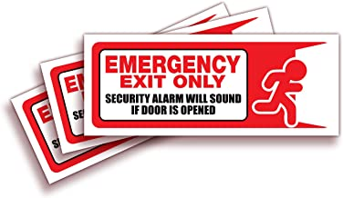 Emergency Exit Only, Security Alarm Will Sound if Door is Opened Signs Stickers – 3 Pack 10x4 Inch – Premium Self-Adhesive Vinyl, Laminated,nUV, Weather, Scratch, Water and Fade Resistance
