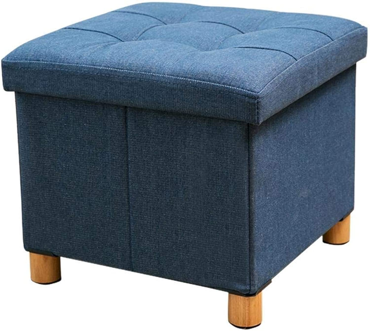 ZYANZ Square Storage Stool with Solid Wood Feet and Removable Cover Storage Box, Change shoes Bench (color   Navy bluee)