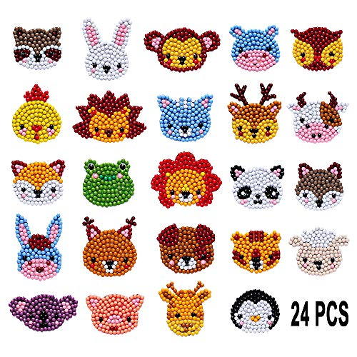 24 Pcs 5D DIY Kids Animal Diamond Painting Stickers Beginner Diamond Painting Kits, Digital Diamond Paint, Diamond Art Mosaic Stickers by Numbers Kits