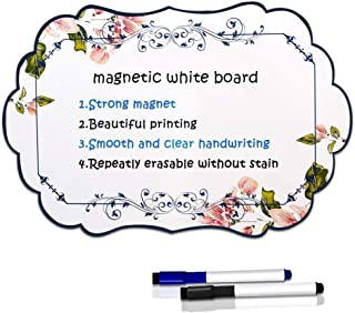 """Sunnyac Magnetic Dry Erase Whiteboard Sheet for Refrigerator, 16""""x10"""" Fridge White Board Planner with 2 Erasable Markers, Stain Resistant Freezer Reminder for Grocery List and Memos (Pattern 2)"""