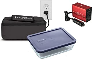 Hot Logic Mini - Deluxe Package with 6 Cup Glass Dish and 150Watt Hot Logic Power Inverter For Vehicle Use - Black