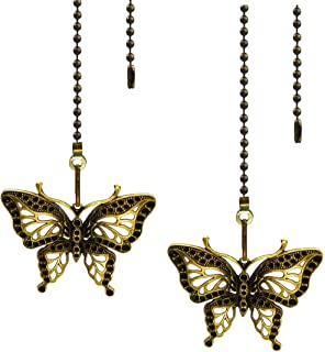 Hyamass 2pcs Vintage Butterfly Pendant Ceiling Fan Danglers Fan Pulls Chain Extender with Ball Chain Connector (Bronze)
