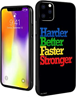 Case for iPhone 11 Quote About Success and Life Harder Better Faster Stronger Full Body Shock Absorption TPU Rubber Black ...