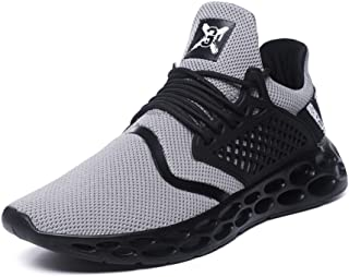 8HAOWENJU Men's Fashion Sneakers Mesh Breathable Running Shoes,Black, Gray, Red