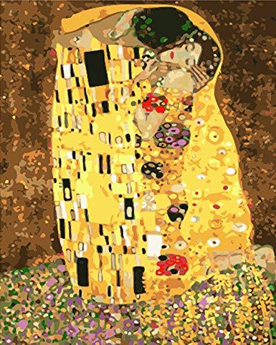 Mileelife Pintar por números para niños Adultos Kit de Pintura al óleo DIY Principiante - Klimt Kiss 1023