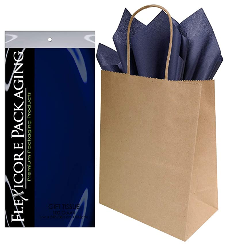 Flexicore Packaging? 50ct Natural Brown Kraft Paper Gift Bags + 100ct Gift Tissue Paper (Navy Blue)