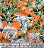 Soimoi Orange Seide Stoff Blätter, Blumen & Elefant Tier