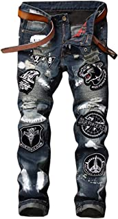 Men's Ripped Distressed Slim Fit Biker Jeans with Patches