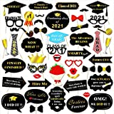 Graduation Photo Booth Props (50Count), Konsait Large Graduation Photo Props Class of 2021 Grad Decor with Sticks for Kids Boy Girl, Black and Gold, for Graduation Party Favors Supplies Decorations