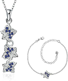 Aooaz Jewelry Womens Alloy Pendant Necklaces Cross Silver Blue Wedding Necklace Charm Necklace Retro