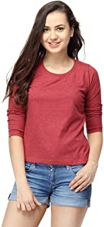 Campus Sutra Women's Cotton Round Neck Quarter Sleeve T-Shirt