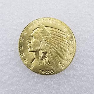WuTing 1908 Antique US Commemorative Old Coin -Great Indian Head Coins Brilliant Uncirculated Antique Eagle Coins - Deeply Miss Our Motherland Coins Great American Coin
