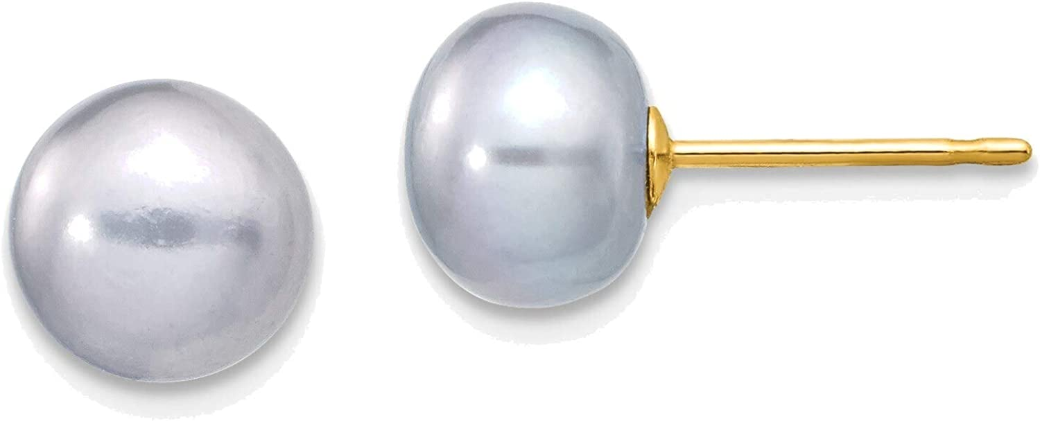7-8mm Grey Button Freshwater Cultured Pearl Stud Post Earrings in 14K Yellow Gold